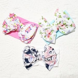 Other - Baby Girl Big Bow Floral Nylon Headbands